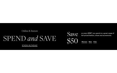 David Jones 服饰鞋包 每满$150 减$50
