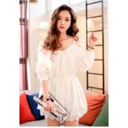 秋装新款韩版连衣裙-白色-516