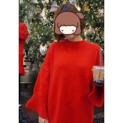红色套头毛衣-1838