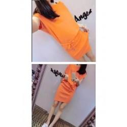 新款针织蝙蝠袖连衣裙-1107