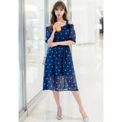 显瘦吊带时尚雪纺连衣裙 2043