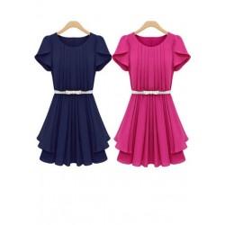 新款修身显瘦百褶短袖连衣裙-1417
