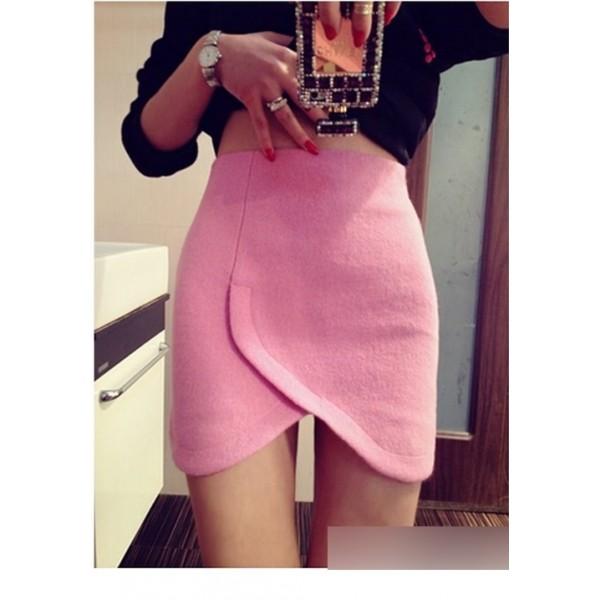 交叉式毛呢包臀半身裙短裙-900