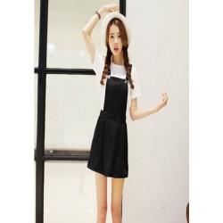 韩版学院风牛仔背带裙-1036