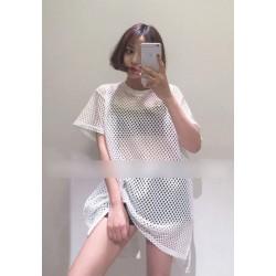 时尚网格宽松大版T恤衫 1602