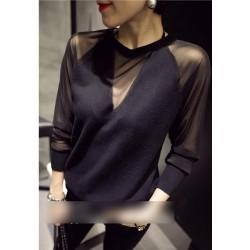 韩版网纱长袖气质上衣潮 1603