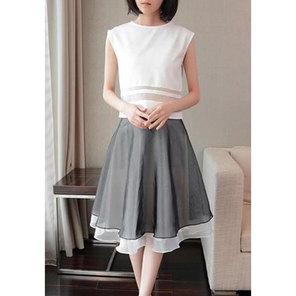 上衣加显瘦A型半身裙 1606