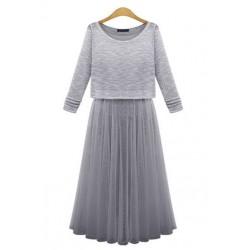 背心网纱百褶长裙-1701