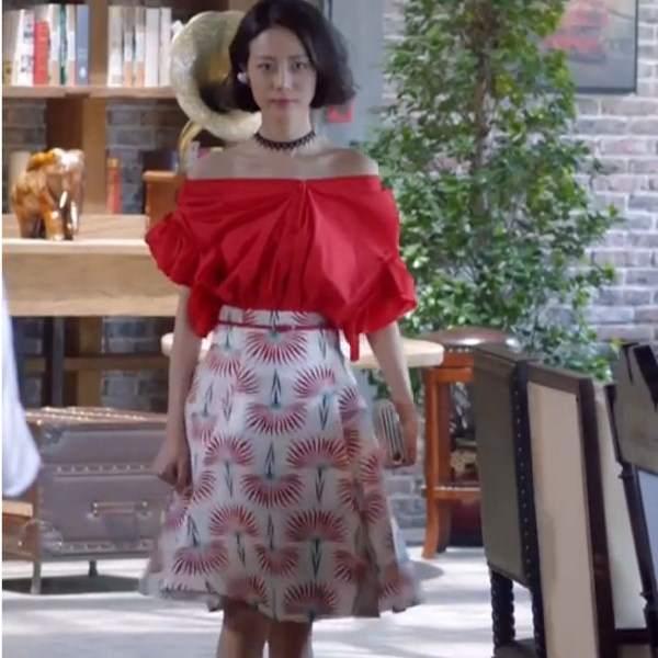 一字肩红色衬衣印花半身裙 2091