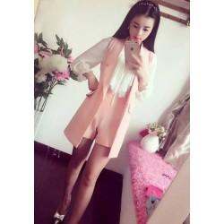韩版修身中长款时尚套装