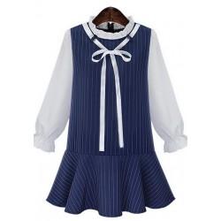 荷叶领条纹拼接拼色连衣裙