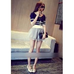 双层网纱系带短裤-969