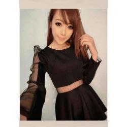 韩版长袖连衣裙黑色
